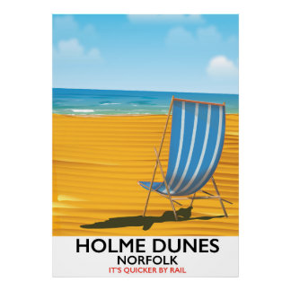 Holme Dunes Norfolk travel poster