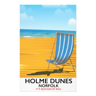 Holme Dunes Norfolk travel poster Customized Stationery