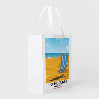 Holme Dunes Norfolk travel poster Reusable Grocery Bag