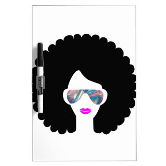 hologram afro girl dry erase board