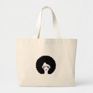 hologram afro girl large tote bag