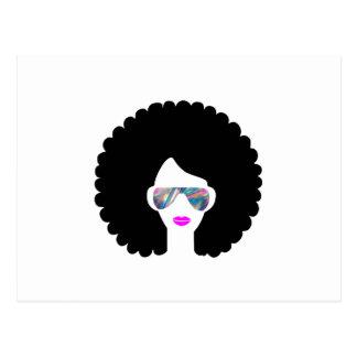 hologram afro girl postcard