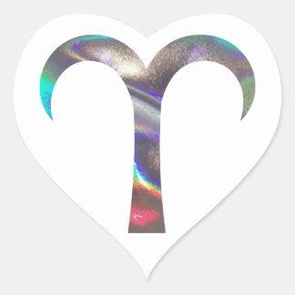 hologram Aries Heart Sticker
