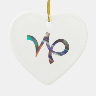 hologram Capricorn Ceramic Heart Ornament