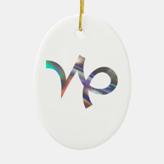 hologram Capricorn Ceramic Oval Ornament