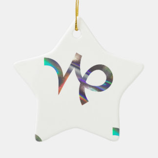hologram Capricorn Ceramic Star Ornament