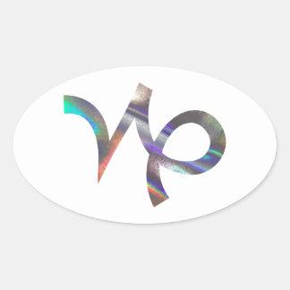 hologram Capricorn Oval Sticker