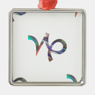 hologram Capricorn Silver-Colored Square Ornament