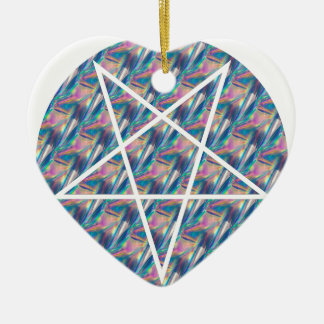 hologram pentagram ceramic heart ornament