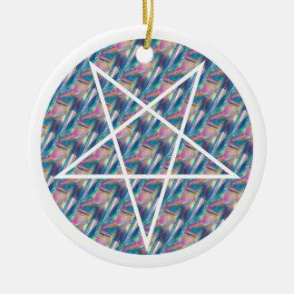 hologram pentagram round ceramic ornament