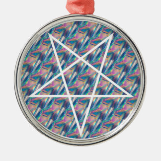hologram pentagram Silver-Colored round ornament