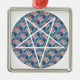 hologram pentagram Silver-Colored square ornament