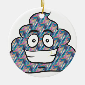 hologram poop emoji ceramic ornament