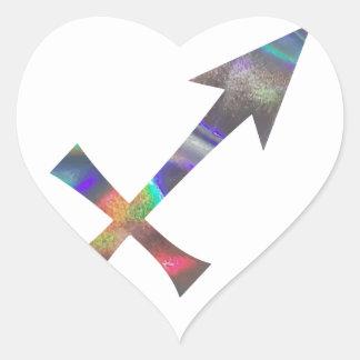 hologram Sagittarius Heart Sticker