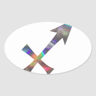 hologram Sagittarius Oval Sticker