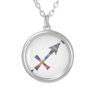 hologram Sagittarius Silver Plated Necklace