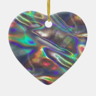 holographic ceramic heart ornament