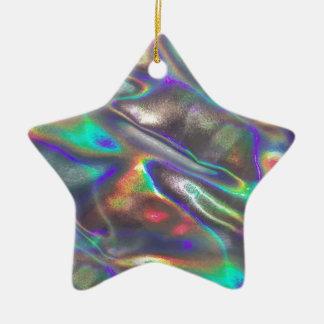 holographic ceramic star ornament