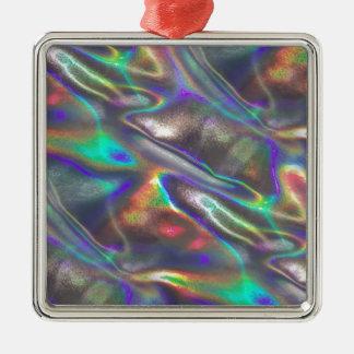 holographic Silver-Colored square ornament