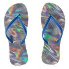 holographic silver flip flops shoes sandals