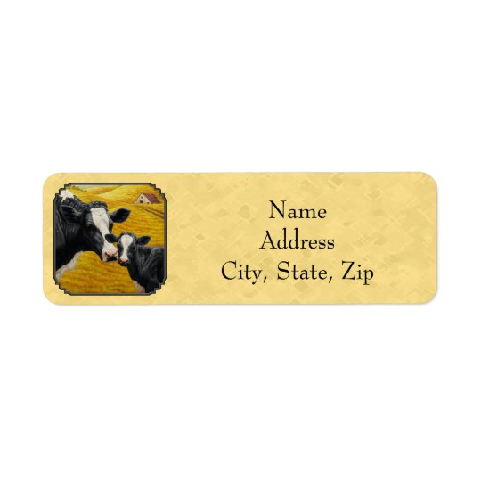 Holstein Cow and Calf Farm Yellow Return Address Label