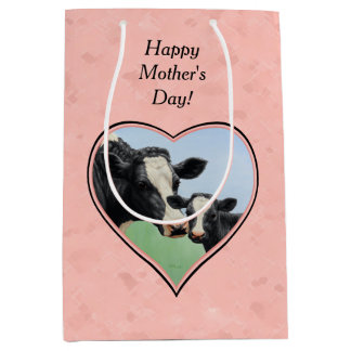 Holstein Cow and Calf Pink Heart Medium Gift Bag