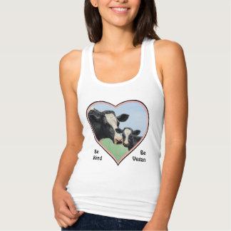 Holstein Cow & Calf Pink Heart Vegan Tshirts
