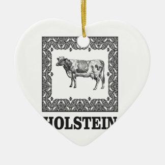 Holstein cow ceramic ornament