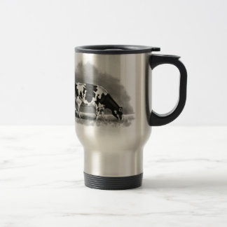 Holstein Cow Grazing: Realism Pencil Drawing Travel Mug