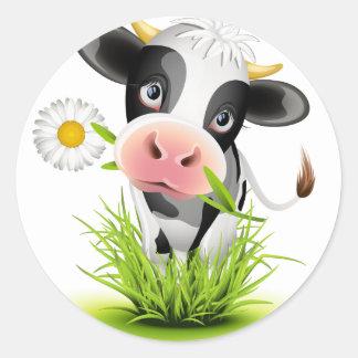 Holstein cow in grass round sticker