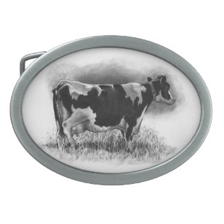 Holstein Cow: Pencil Drawing: Realism: Dairy, Farm Oval Belt Buckle
