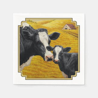 Holstein Cows and Old Wood Barn Paper Napkins