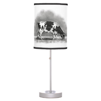 Holstein Dairy Cow Grazing: Pencil Drawing Table Lamp