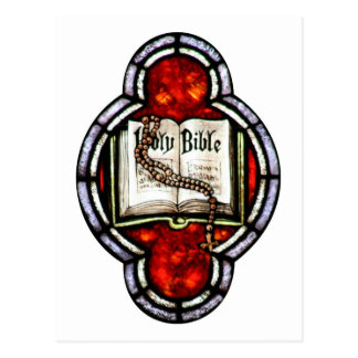 Holy Bible and Rosary Stained Glass Art Postcard