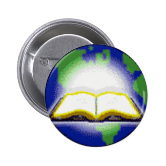 Holy Bible & Globe 2 Inch Round Button