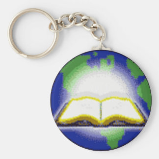 Holy Bible & Globe Basic Round Button Keychain