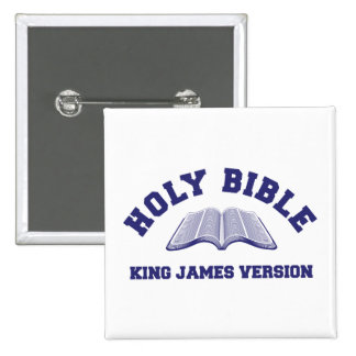 Holy Bible King James Version in blue 2 Inch Square Button