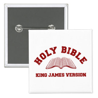 Holy Bible King James Version in red distressed 2 Inch Square Button
