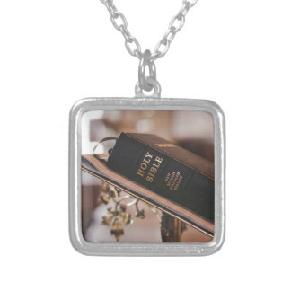 Holy bible silver plated necklace