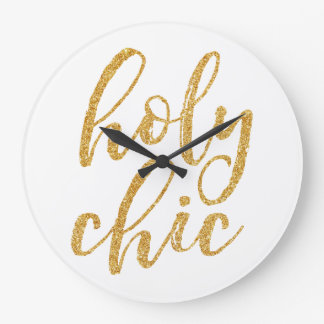 Holy chic gold glitter large clock