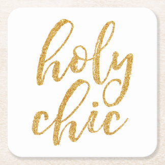 Holy chic gold glitter square paper coaster