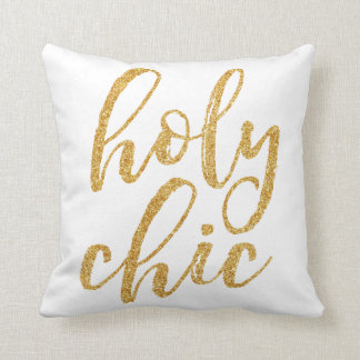 Holy chic gold glitter throw pillow