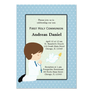 "Holy Communion boy * Choose your background color 5"" X 7"" Invitation Card"