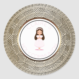 Holy Communion Girl Favor Pink Gold Classic Round Sticker