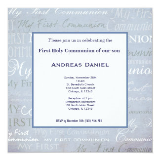 Holy Communion 5.25x5.25 Square Paper Invitation Card