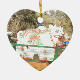 HOLY COW animal statue exhibition festival show Ceramic Heart Ornament