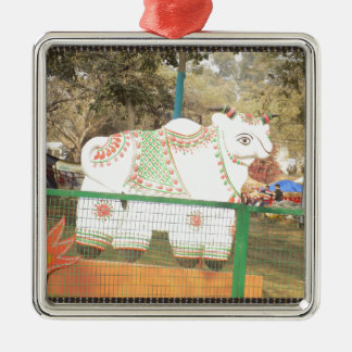 HOLY COW animal statue exhibition festival show Silver-Colored Square Ornament