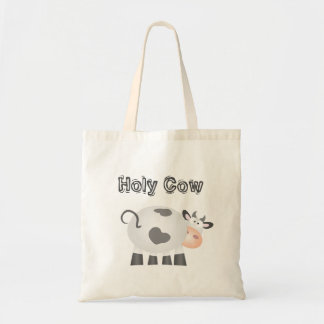 Holy Cow Funny Cute Farm Animal Pun Humor Cartoon Tote Bag