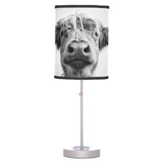 Holy Cow Mesotint Style Art Photography Table Lamp