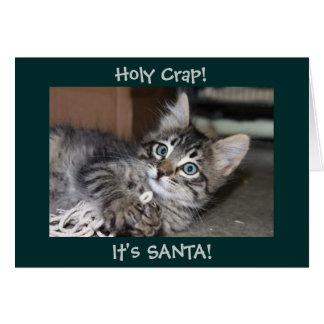 Holy Crap It's Santa Kitten Christmas Card